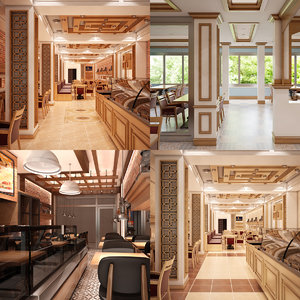 restaurant set interior 3D