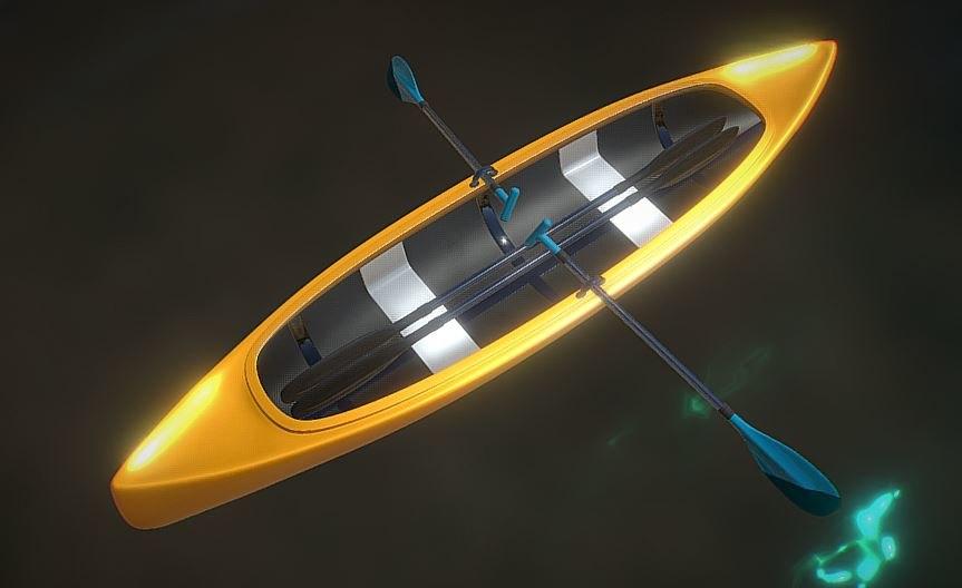 3D canoe boat 2 types model