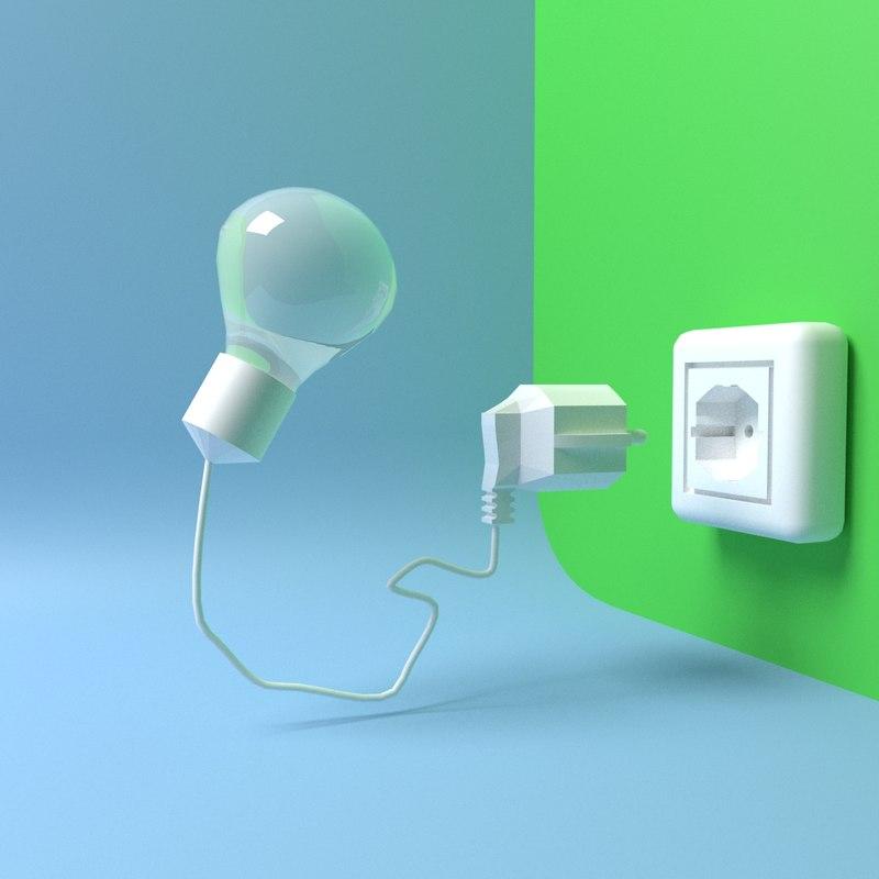 3D plug socket model