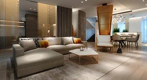 living room modern 3D