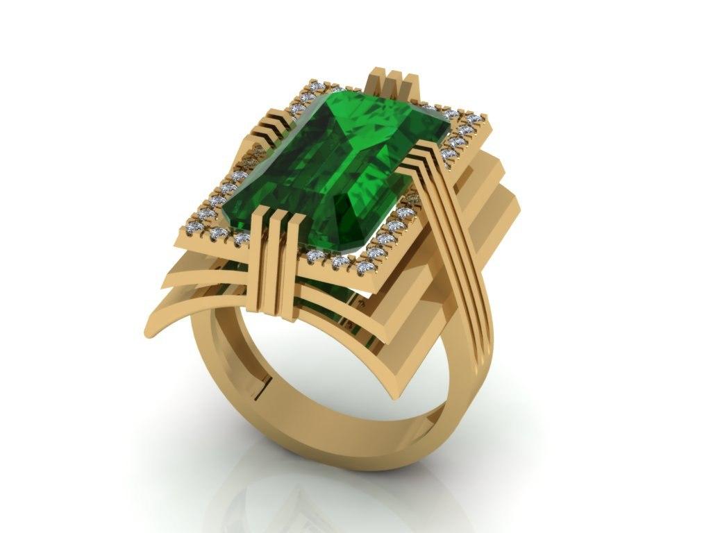 3D ring emerald diamonds model