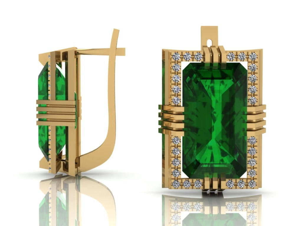 3D emerald diamonds gold model
