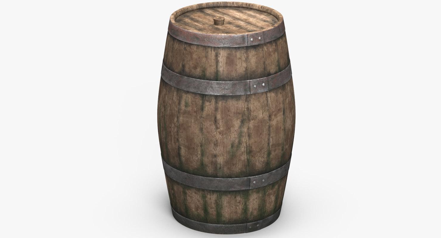 wooden barrel 3D