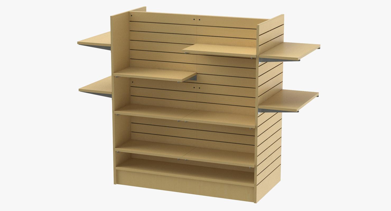 3D model slat wall gondolas shelves