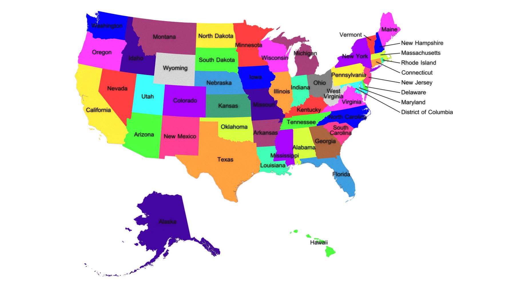 USA Staaten benannt