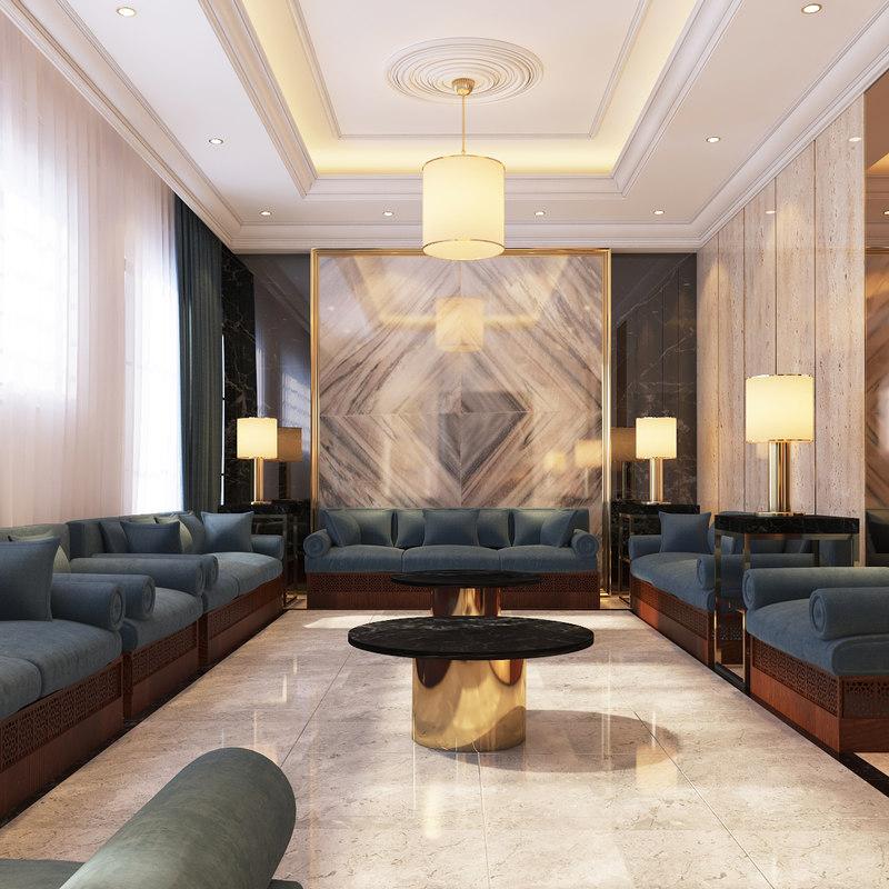 3D interior contemporary sitting area