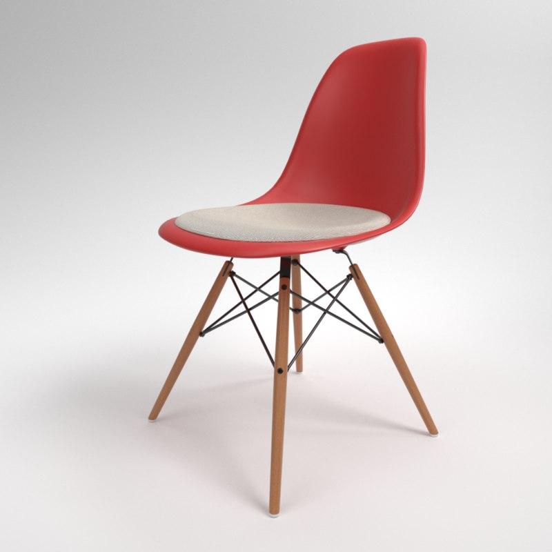 3D model interior vitra eames plastic chair