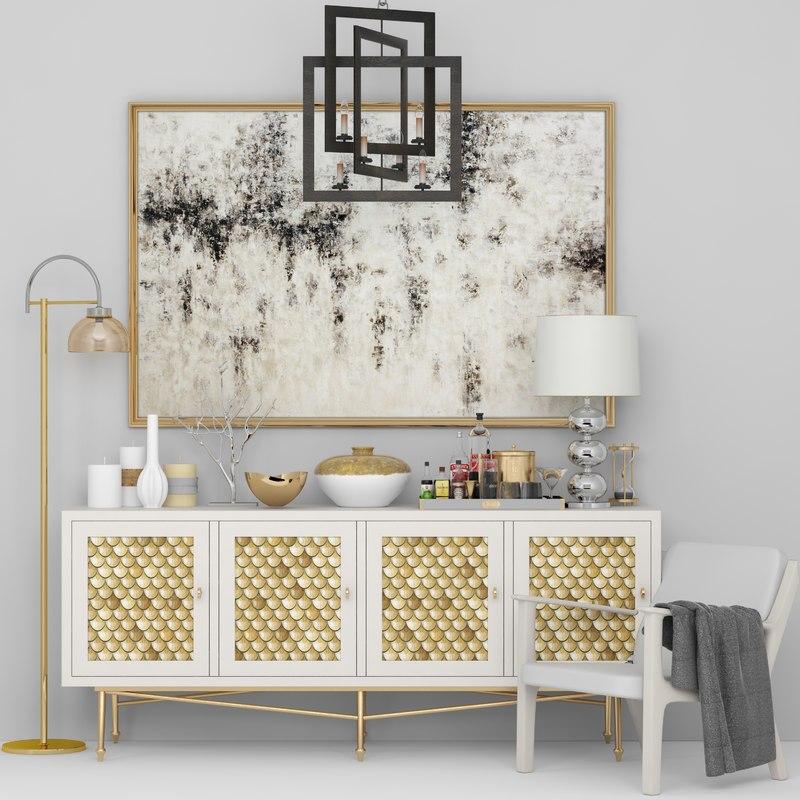 set chandelier table 3D model