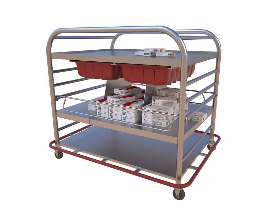 3D medical supply cart