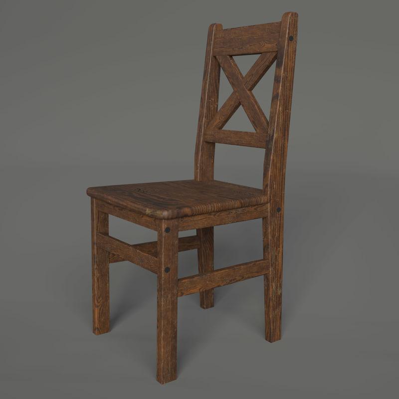 3D wood chair tileable