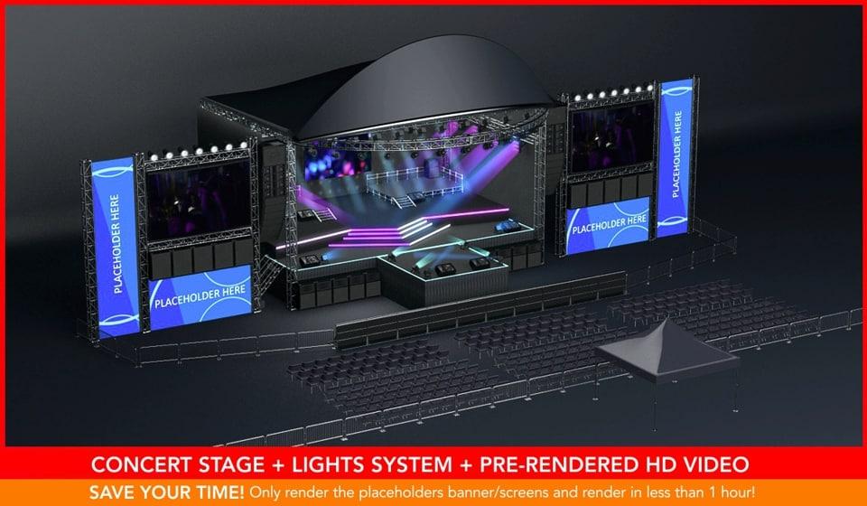 3D concert stage details lights model