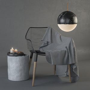 3D chair mercury dining model