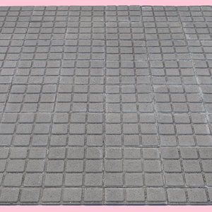 3D model square tiled sidewalk