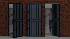 3D door metal frame model