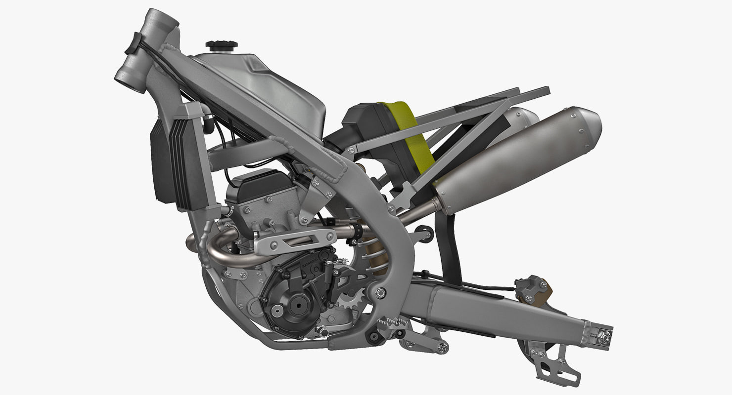 Motorcycle Engine 3d Models For Download Turbosquid Diagram Art Motocross Frame