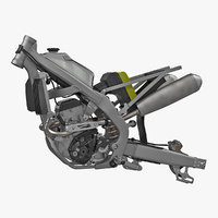 Motocross Motorcycle Engine And Frame 3D Model