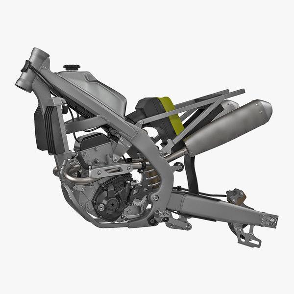 motocross motorcycle engine frame 3D