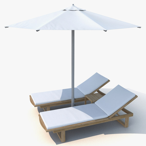 3D model sun loungers umbrella