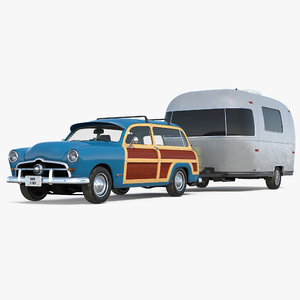 retro car airstream trailer 3D model