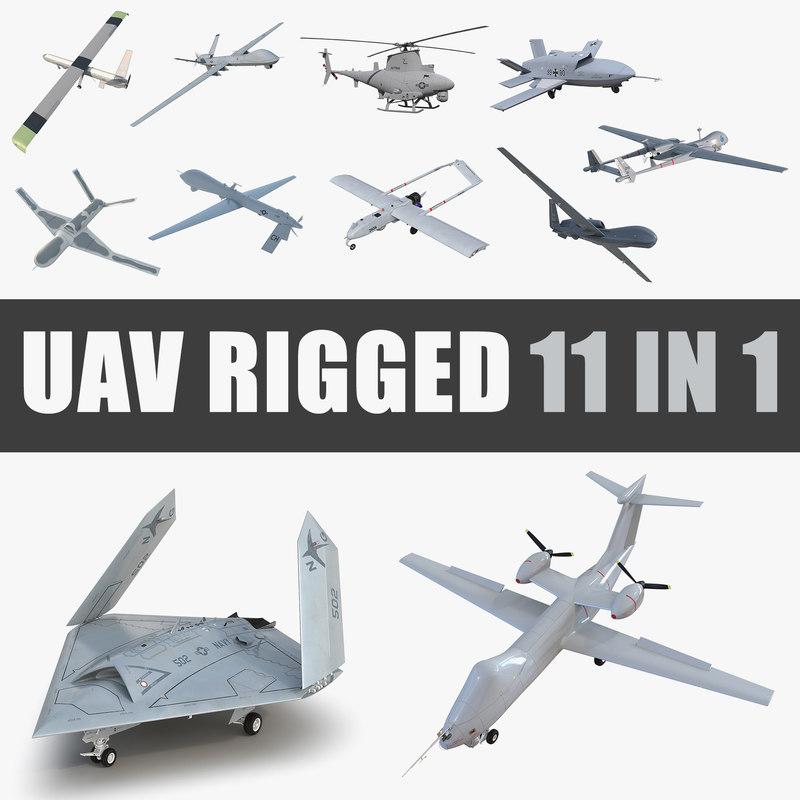 3D uav rigged 4