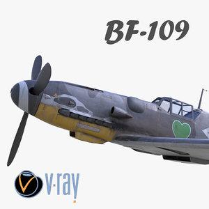 3D bf-109 german fighter modelled
