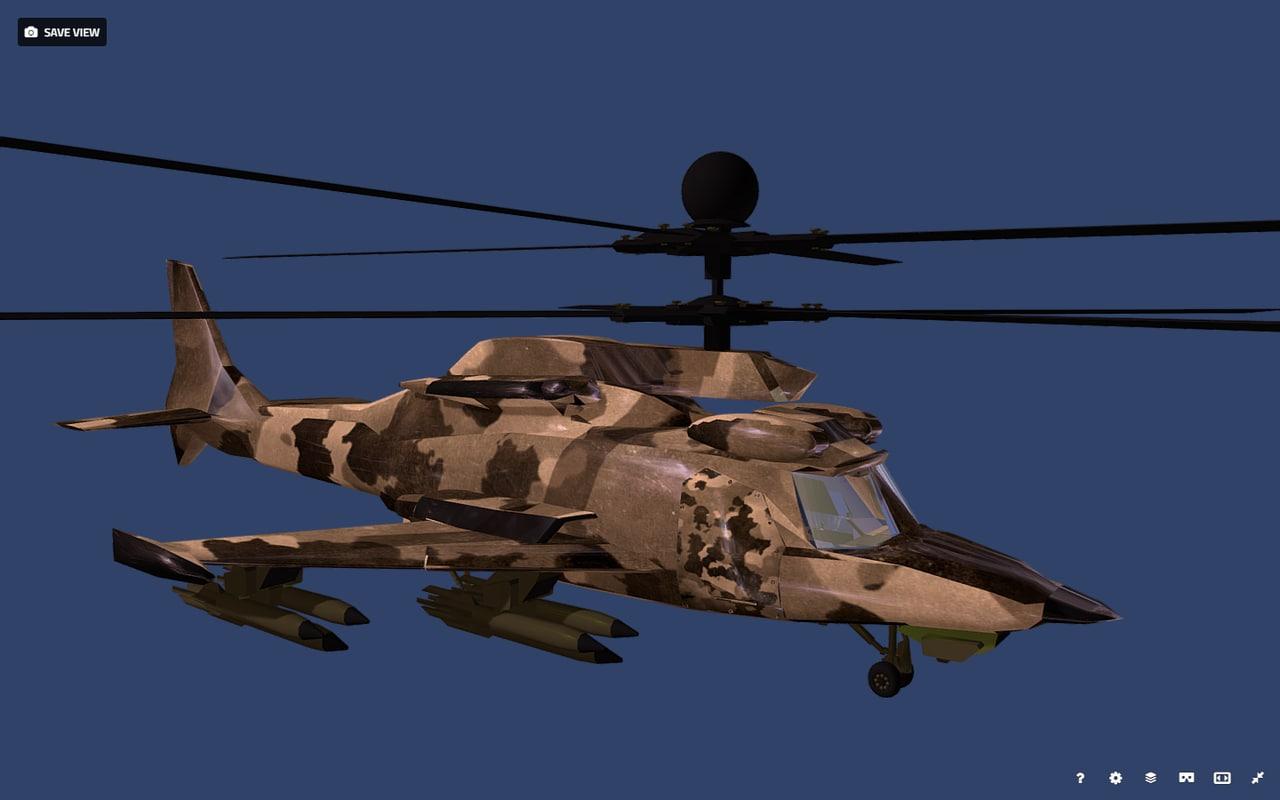 fantasy military helicopter ka-777 3D model