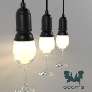 3D model wineglass lamp oooms lighting