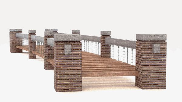 suspended bridge suspension 3D model