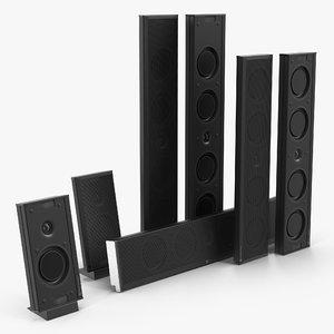 speakers set monitor shadow 3D model