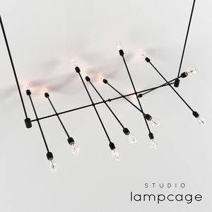 industrial bar lamp cage 3D model