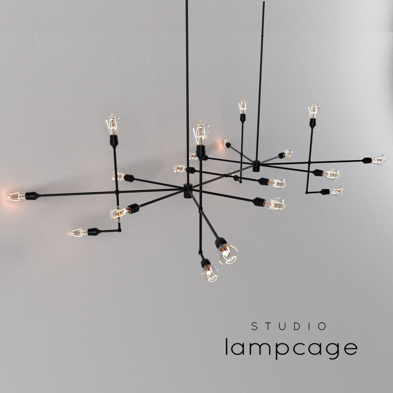 industrial bar lamp cage 3D model