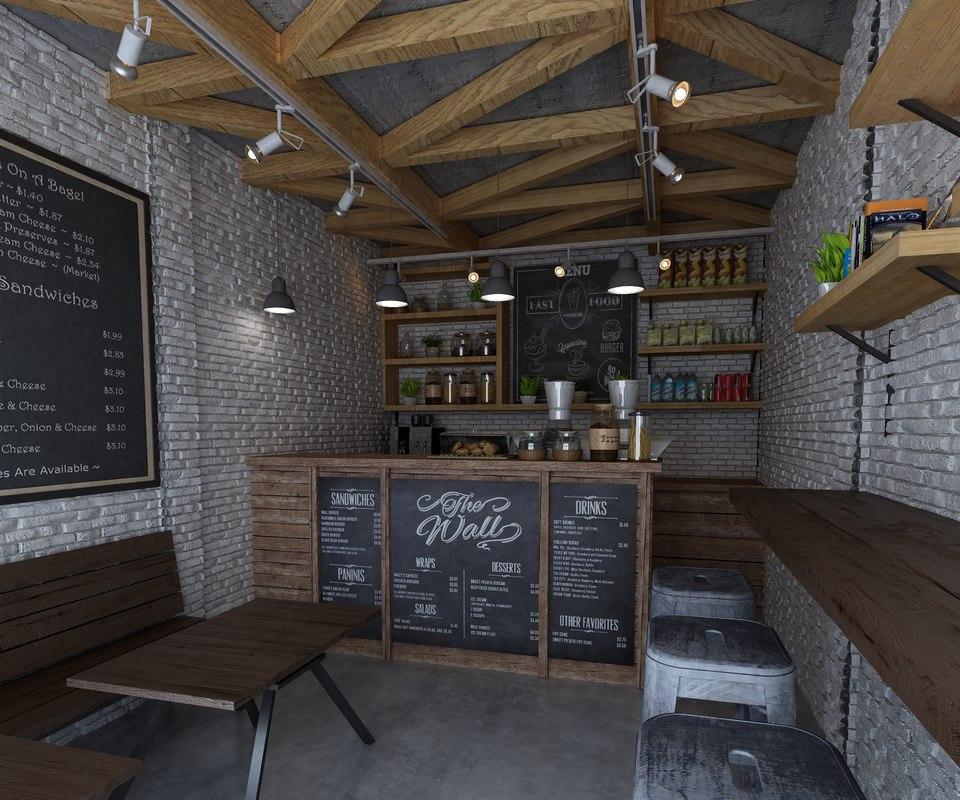 3D coffeeshop exterior model