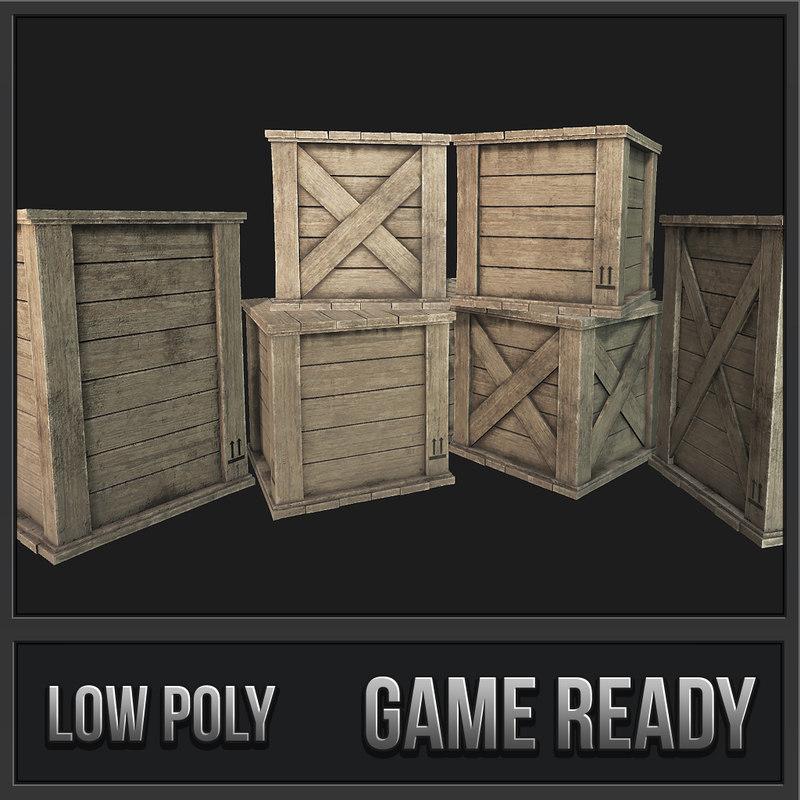 3D wooden crates pbr 01 model