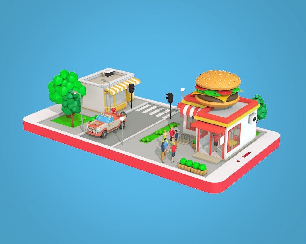 3D building burger cafe phone