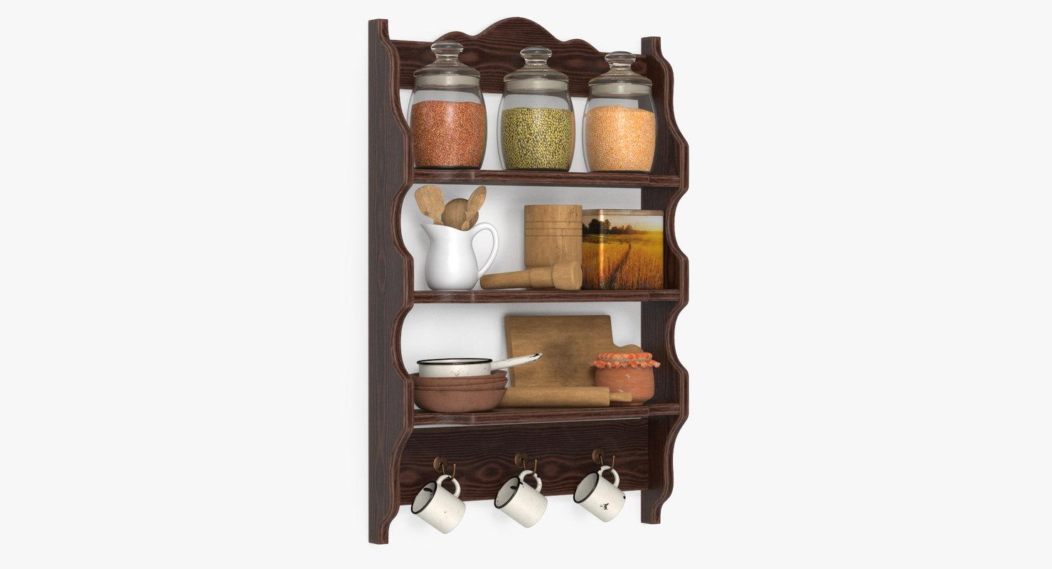 3D shelf tableware model