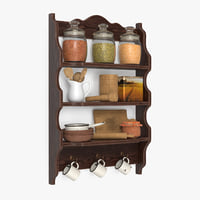 3D shelf tableware model