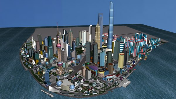 shanghai city buildings 3D