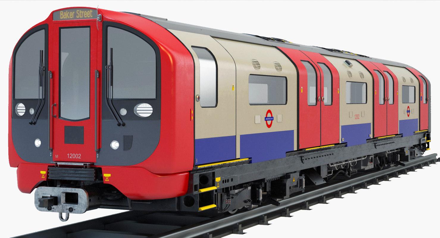 stock london subway train 3D model