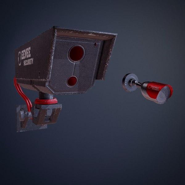 3D cyberpunk surveillance cameras assets model