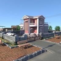 3D houses road