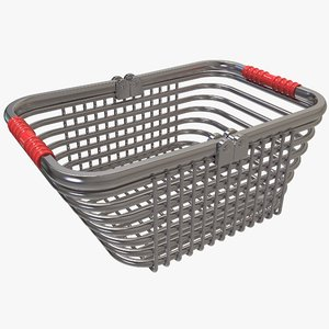 3D shopping silver wire basket