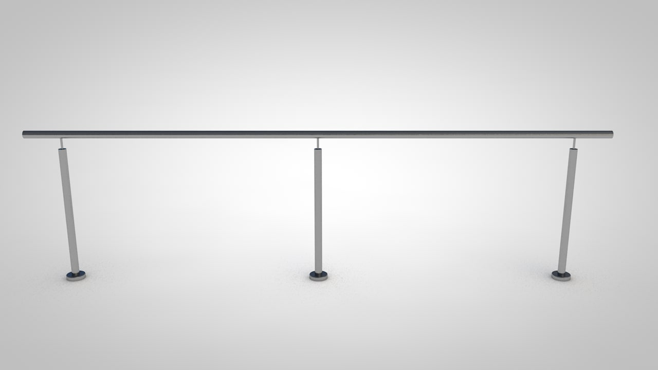 3 posts handrail 3D model