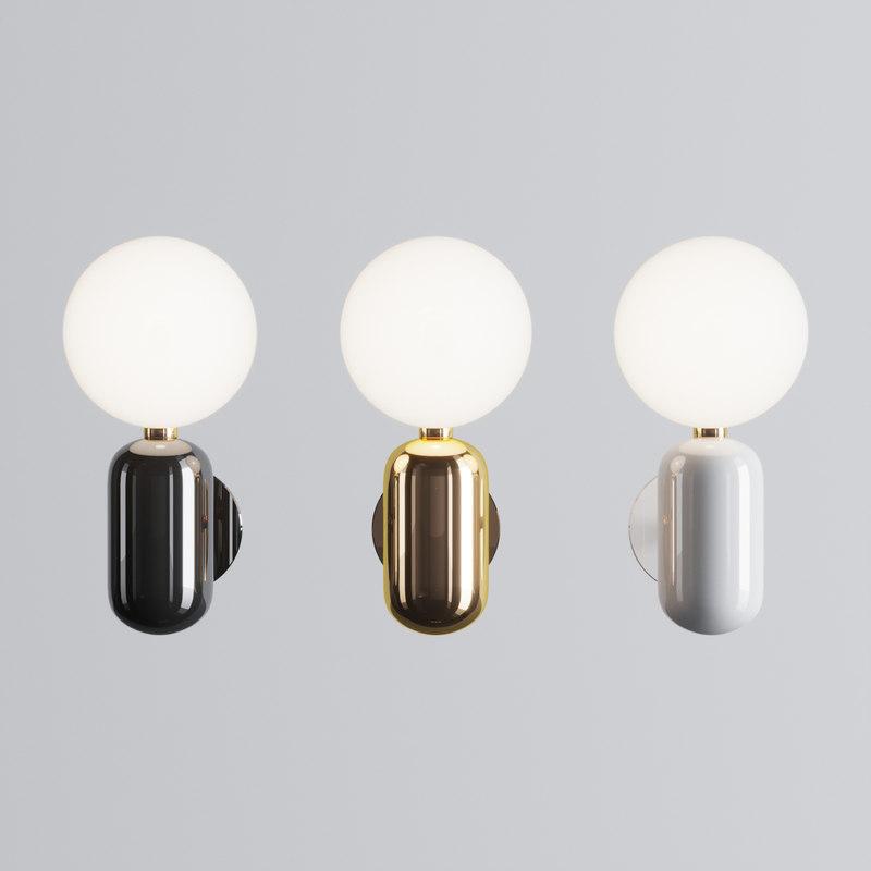 3D parachilna aballs wall lamp