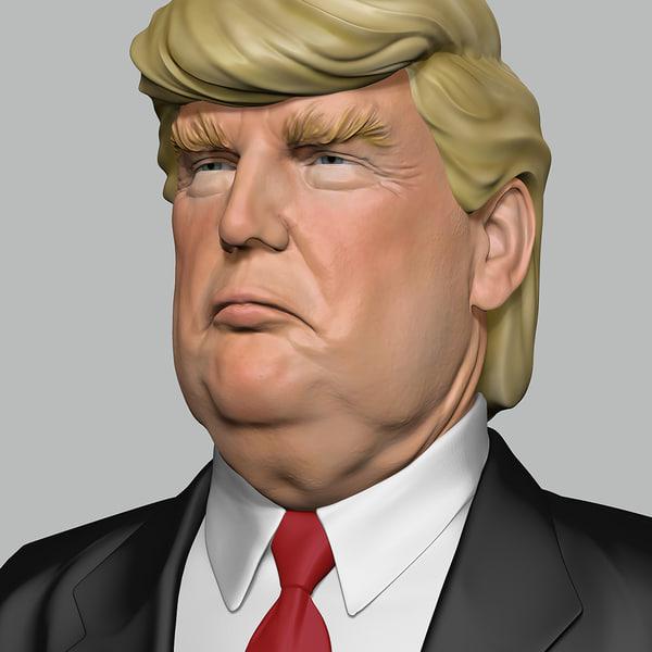 bust donald trump man head 3D model