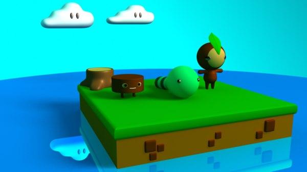 3D scene cute characters model