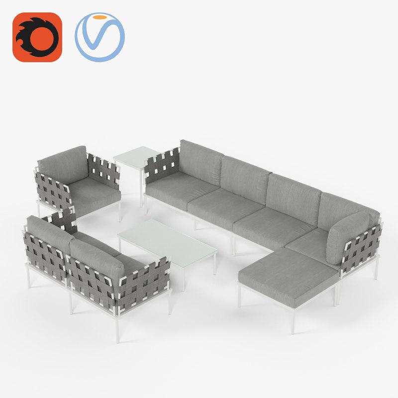 3D white set armchair sofa model