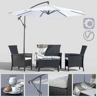 Furniture made of polyotonga with an umbrella(1)