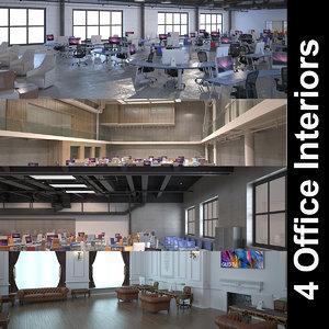 4 office interiors 3D model