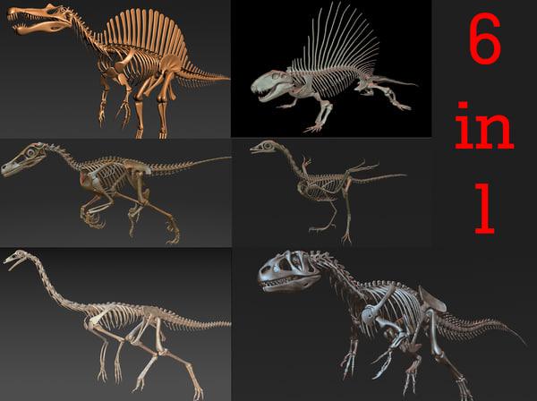 skeletons carnivorous dinosaurs allosaurus 3D model