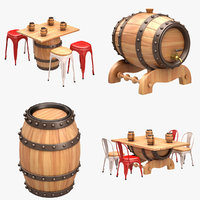 beer barrel set 3D